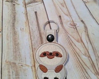 Sloth - In The Hoop - Snap/Rivet Key Fob - DIGITAL EMBROIDERY Design