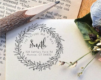 The Future Mr. & Mrs. Personalized Wedding Family Names Return Address Stamp Floral, Vines, Wreath Rubber Stamp Or Pre-Inked Stamp R634