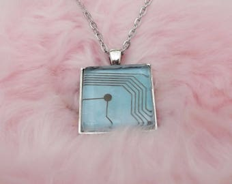 Blue Circuit Board Sea Punk Vaporwave Pendant