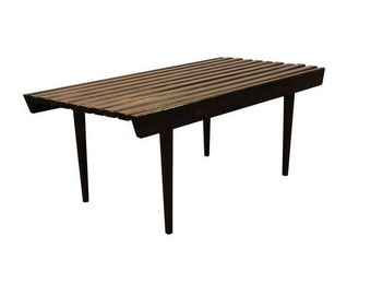 Mid Century Danish Modern Walnut Slat Bench/Coffee Table #1