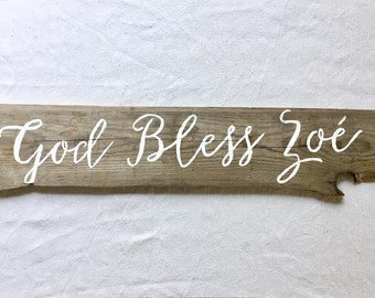 Custom calligraphic antique wood sign