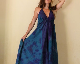 Long summer dress back naked, blue night, tie dye, ethnic, in cotton
