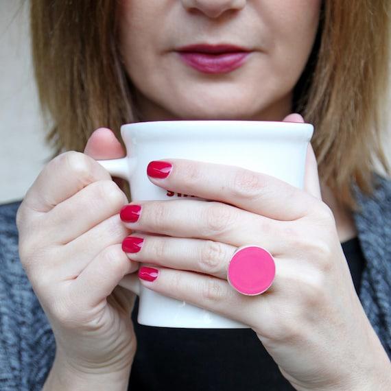 Pink ring, rose pastel pink resin ring, baby pink ring, orchid dusty rose ring, pink cocktail ring, modern minimalist round statement ring