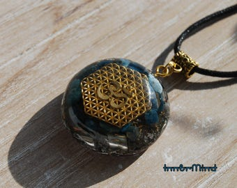Aum Flower of Life Orgone Pendant Necklace blue Apatite Sacred Geometry