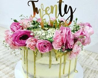 Twenty One Cake Topper - Assorted Colours - Cardstock - Twentyone - 21st Cake Topper - Happy 21st Birthday