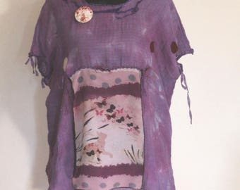 gebatikte cotton tunic... Cat happiness... with chiffon screen... light summer blouse ...locker falling