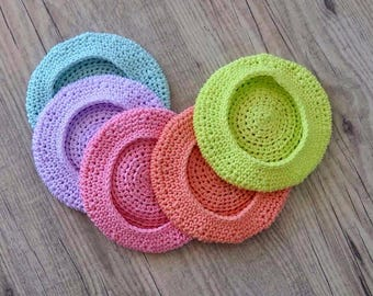Blythe Crochet Beret Hat - Blue/Lilac/Pink/Coral/Yellow