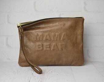 MAMA BEAR leather clutch taupe glazed goat, Leather Pouch, leather clutch , iPad pouch, diaper bag organizer , baby bag , new mom gift