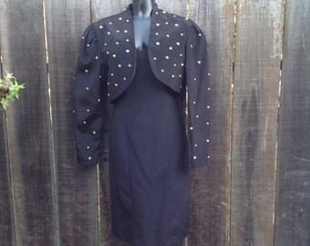 Vintage pencil strapless dress and studded bolero. Vintage holiday dress. Small