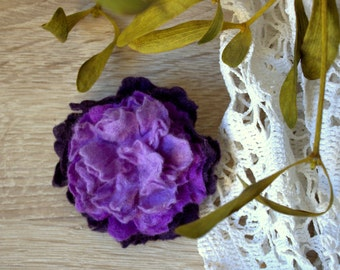 Felted violet peony brooch Felt lavender hairpin Handfelted flower jewelry Dark purple flower Nuno felted flower pin