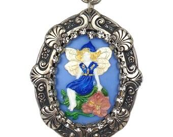 Blue Woodland Fairy Gypsy Beaded Cameo Pendant Statement Necklace Rhinestone, Lampwork, Pearls, Flowers