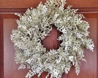 Christmas Dusty Miller Wreath, Artificial Boxwood Wreath, House Warming Gift, Artificial Snow Wreath, Flocked Christmas Wreath