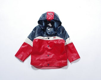 30% OFF SALE - 90s Helly Hansen Kids Hooded Storm pvc Jacket / Size 116 - 6 Years