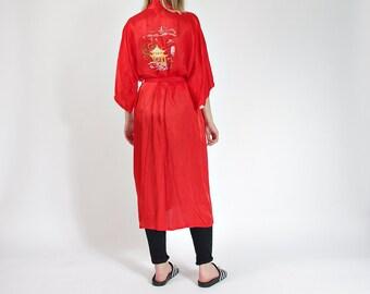 50% OFF SALE - 80s Marianne von der Osten Hand Embroidered Kimono Dressing Gown Shanghai China / Size M/L