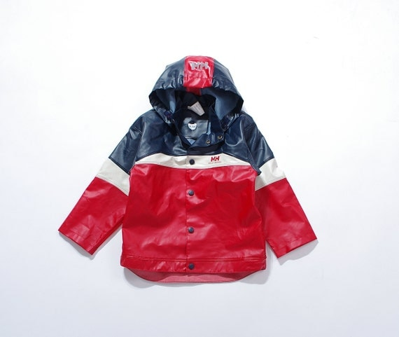 SALE - 90s Helly Hansen Kids Hooded Storm pvc Jacket / Size 116 - 6 Years