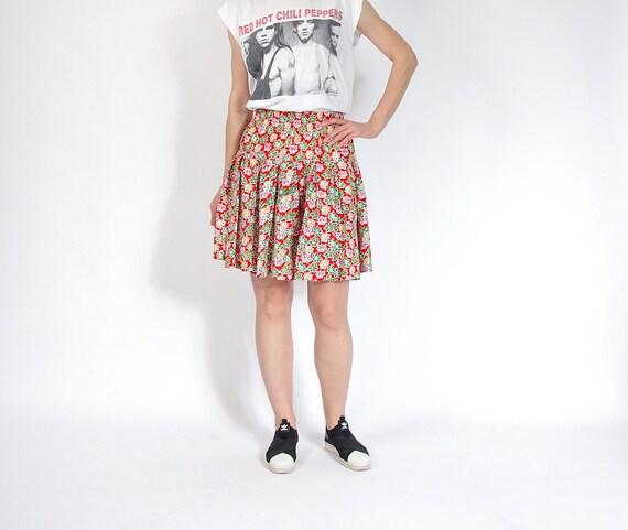 SALE - 80s Kosinski High Waisted Floral Summer Frill Skirt / Size M/L