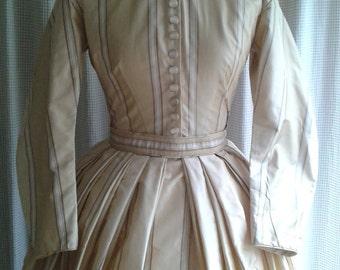 1860s Replica Day Dress in Silk Taffeta, Handsewn