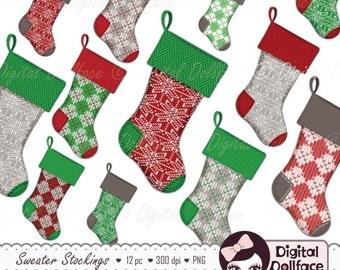 Christmas Stocking Clipart / Digital Christmas Clipart / Sweater Stocking Clip Art, Printable