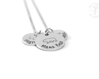 Mama Bear Necklace - Hand Stamped - Engraved Momma Bear - Personalized Bear Necklace - Silver - Gift for Mom - Mother's Day - Baby Shower