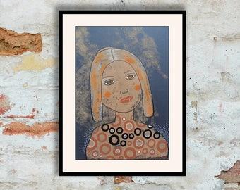 Original Portrait Painting Neutral Colors Girl Woman Spiritual Wall Art Face Faces Feminine Spiritual Folk Art Sister Mother Gift