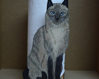 Siamese Cat Paper Towel Holder, Unique, Wooden, Handmade and Hand-painted you'll love  it's  beautiful eyes and muscular body, Ready to Use.