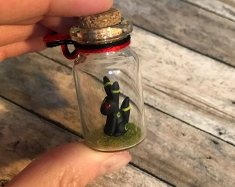 Mini Umbreon Inspired Bottle Charm Terrarium / Necklace