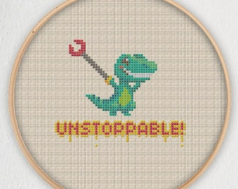 T-Rex Unstoppable Cross Stitch Pattern - Instant Download PDF