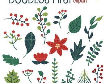 Winter Foliage Clip Art for Scrapbooking Card Making Cupcake Toppers Paper Crafts