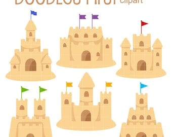 Sand Castles Clip Art for Scrapbooking Card Making Cupcake Toppers Paper Crafts