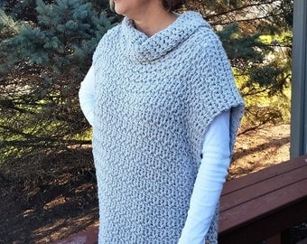 Aura Pullover - Handmade Crochet Poncho - Custom Cowlneck Color Sweater  - Grey Wrap with Buttons - Cowl Neck Jacket