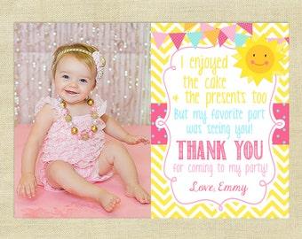 Sunshine Thank You Card with Photo, Birthday, Personalized, Little Sunshine, Matching