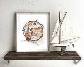 "Fine Art Giclee Print ""Nautical View"" // Original Artwork By Kayla Townsend // Ink On Paper"