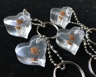 Ladybug Resin Heart Keychains