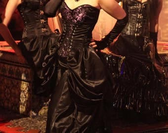 Topping Satin- Black satin bustier bustle corset front adjust in 5 places w/ pockets XS - 4X by Hilary's Vanity