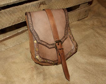 Leather 'Arthur' Pouch with Edge Detail