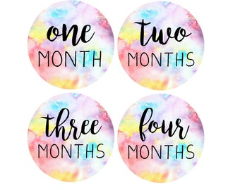 MONTHLY 12 Months Baby Stickers Rainbow Baby One to Stickers Just Born Milestone One-Piece Stickers Baby Shower Gift Present Born Stickers