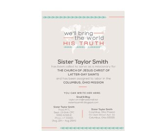 Custom Missionary Address Card | 4x6 Digital File