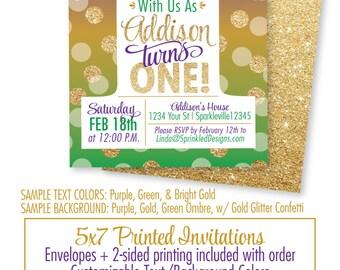 Mardi Gras 1st Birthday Invitation - Purple Green Gold Glitter Mardi Gras Birthday Invites, New Orleans Birthday Party Invitations Printed
