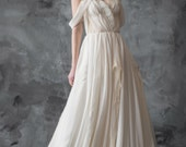 Off-shoulder wedding dress, ivory chiffon gown, slit dress, sweetheart neckline // Aura