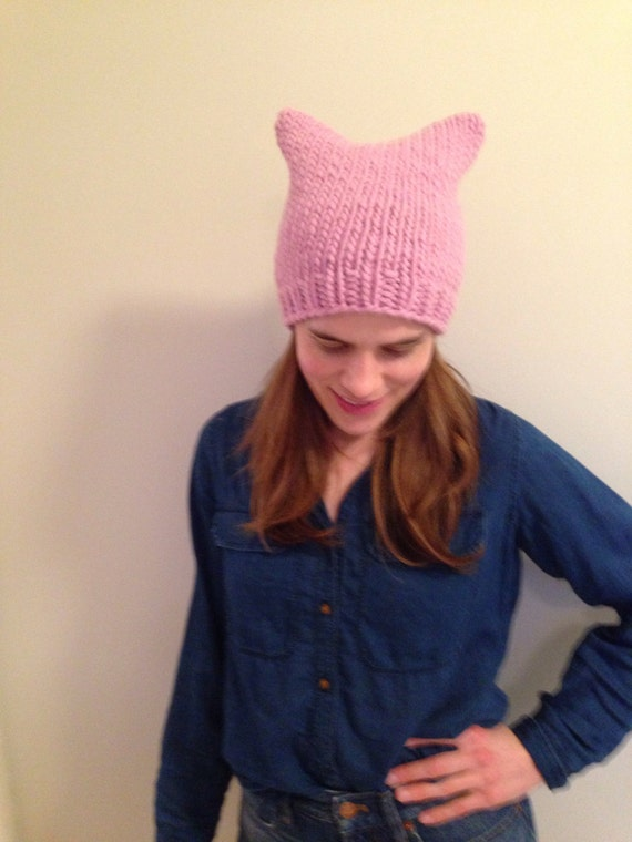 Pink pussy hat 100% wool made in the USA color and size options available