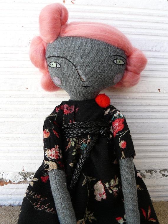 Art doll pink merino wool hair a. 32 cm