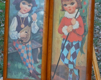 "Vintage Goji ""Big-Eyed"" Kids in Harlequin"