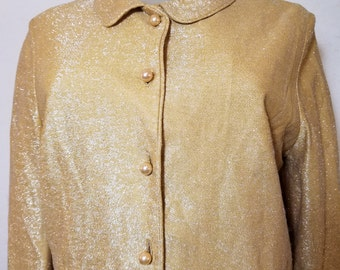 FREE  SHIPPING  1950 Gold Metallic Bolero Jacket