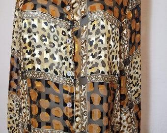 FREE  SHIPPING  Designer Silk Leopard Blouse