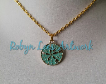 Turquoise Green Blue Coloured Small Sand Dollar Charm Necklace on Gold Crossed Chain. Beach, Ocean, Nautical, Holiday, Sailor, Cute