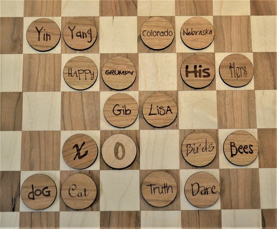 CUSTOM Personalized Wood Checkers