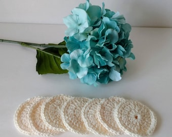 Reusable Cotton Rounds, 7 Small, Colorway Cream, Crocheted Face Scrubbies, Makeup Remover Pad
