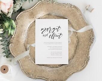 Printable Wedding Invitation Set   Simple Calligraphy Invitation Set   Minimalist Wedding Invitation   Wedding Invitation Suite   WI-021