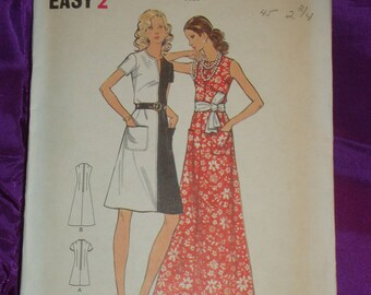 1970s 70s A Line Dress w Slash Front Neck 2 Lengths SLEEVELESS ONLY Butterick Pattern 6693 Bust 38 Inches 97 Metric EASY