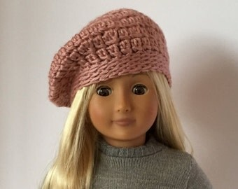 "DOLL BERET hat.  For 18"" doll crocheted beret. Fits American Girl Doll. Crocheted doll hat. 18"" doll clothes.  18"" doll hats."